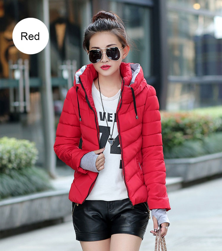 ZOGAA Красный Номер L new fashion winter jacket women fur collar hooded jacket warm thick coat large size slim for women outwear parka women g2786