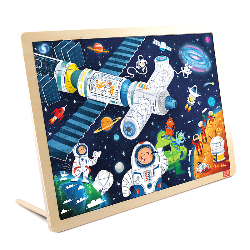 TOI Space48PCS 1 piece baby wooden toys magnetic fishing game jigsaw puzzle board 3d jigsaw puzzle children education toy for children