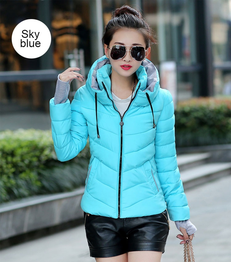 ZOGAA Небесно-голубой Номер М new fashion winter jacket women fur collar hooded jacket warm thick coat large size slim for women outwear parka women g2786