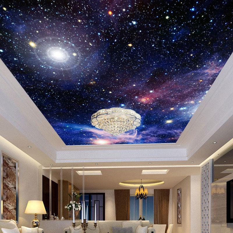 Colomac Смешанный цвет пользовательские 3d обои для фото звездное небо потолочные фрески настенные покрытия декор гостиная спальня потолок фрески обои