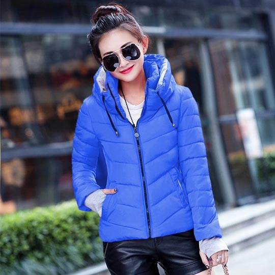 ZOGAA Синий цвет Номер XXXL winter long thick hoodied cotton coat fashion pattern parka jacket women cotton padded clothing girl fashion slim body pockets
