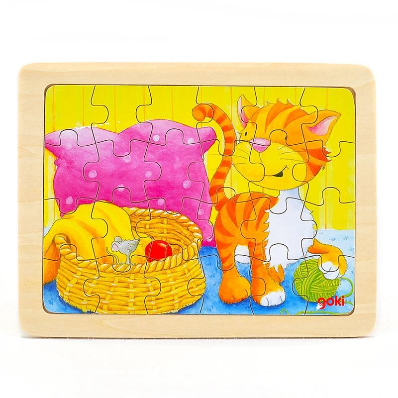 goki Puzzle Animal cat 24pcs mushroom stud building block jigsaw puzzle toy for kids 296pcs