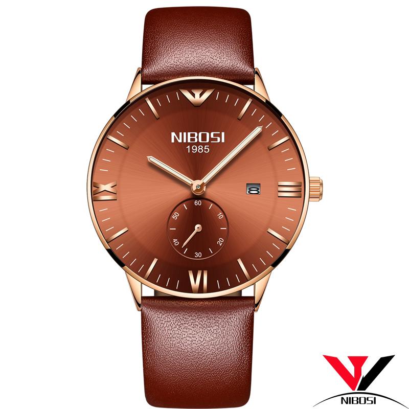 Наручные часы наручные часы натуральной кожи случайные роскошные часы NIBOSI Кофейный ремешок для часов Часы для мужчины фото