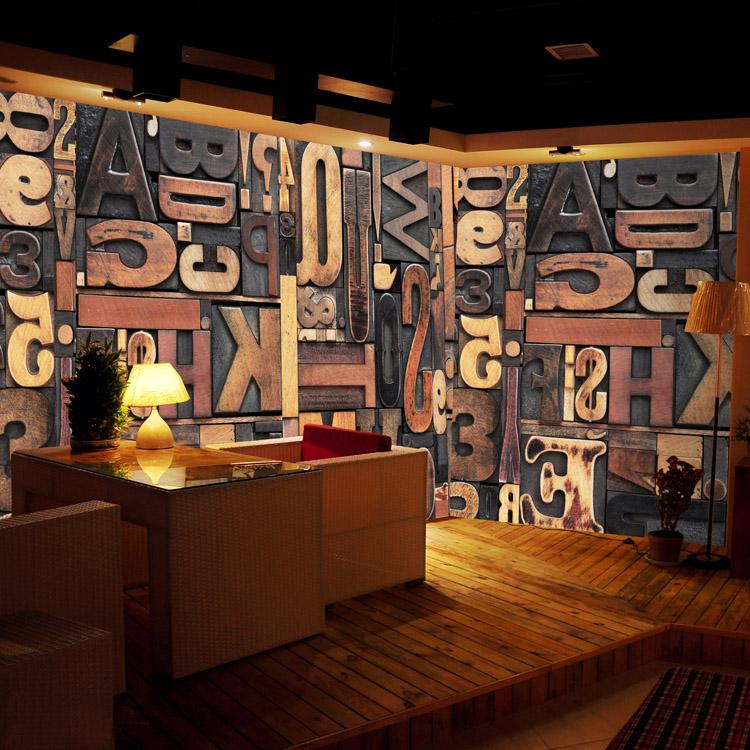 Colomac Смешанный цвет 3d фото обои 3d стерео ретро алфавит головоломка большая роспись европейский стиль кофе ресторан магазин чая роспись обои