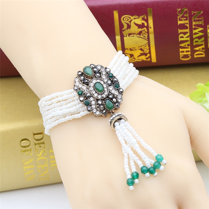 SUNSPICE MS Зеленый u7 boho бисера браслеты для женщин ювелирные изделия 2016 черный камень необычные австрийский хрусталь женщины регулируемая браслет узла
