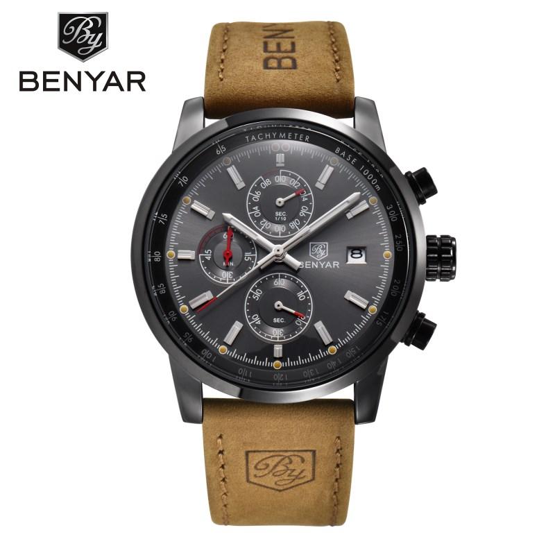 benyar Черный серый 2017 мужские часы известные лучшие роскошные бренды кварцевые часы мужские наручные часы мужской наручные часы