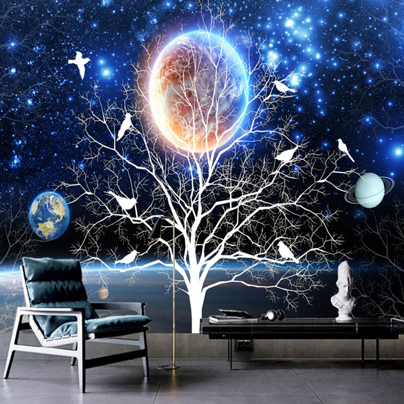 Colomac Смешанный цвет 3d stereo starry sky flower and bird mural wallpaper living room sofa tv background wall paintings kid s bedroom papel de parede