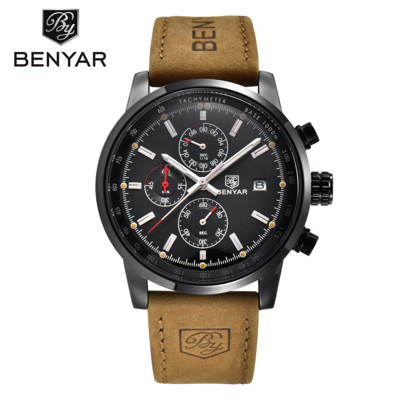 benyar черный черный 2017 мужские часы известные лучшие роскошные бренды кварцевые часы мужские наручные часы мужской наручные часы
