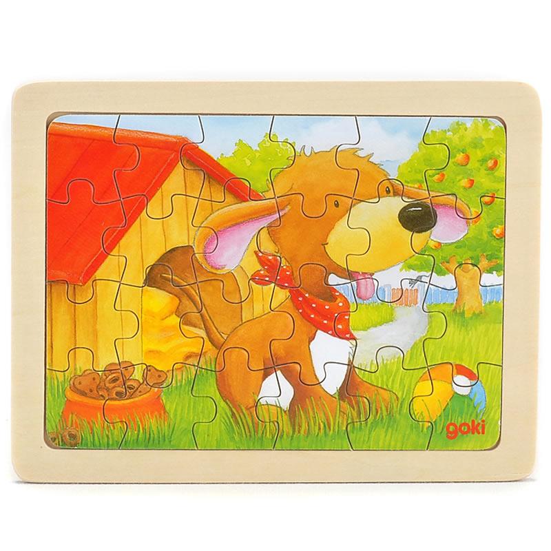 goki Puzzle Animal dog 24pcs mushroom stud building block jigsaw puzzle toy for kids 296pcs