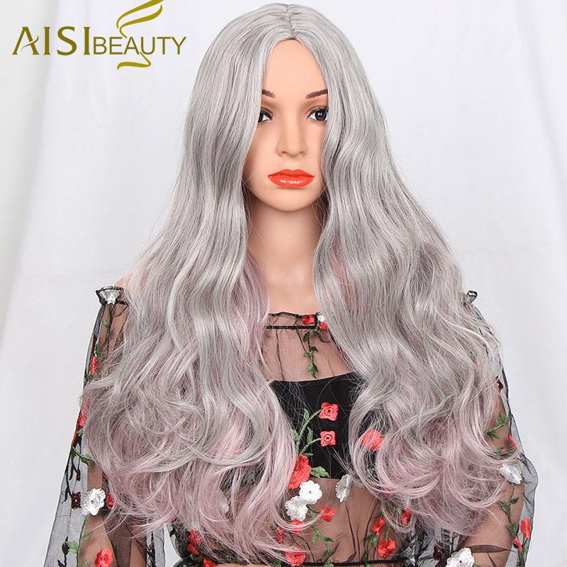 Длинный омбре серый с розовым 1s a wig Grey 26 дюймов фото