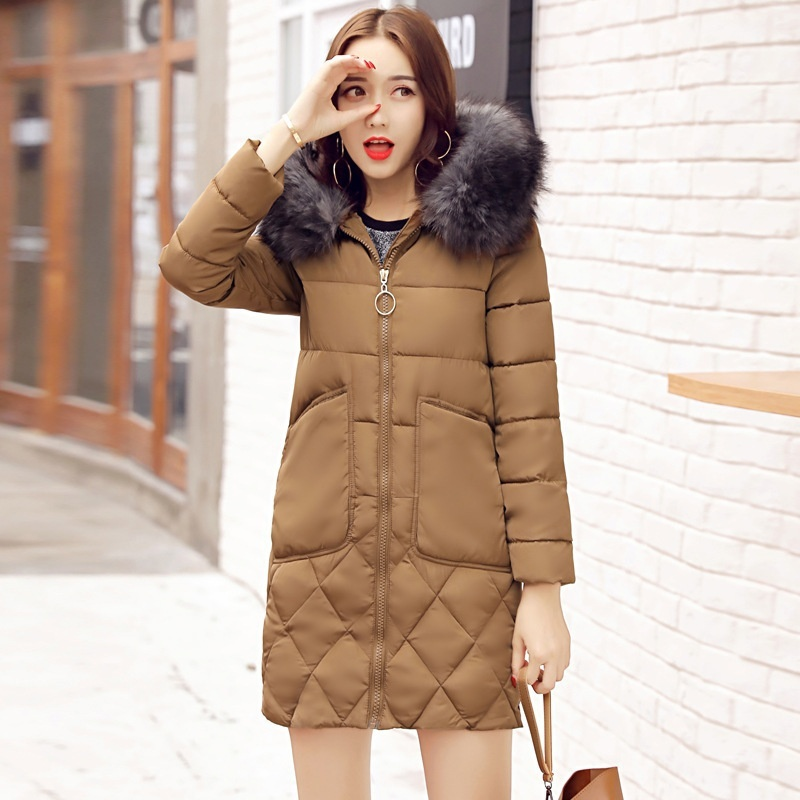 ZOGAA Светло-коричневый Номер L high quality women winter parkas 2017 new fashion female medium long loose cotton padded wadded jacket coat plus size 3xl cm1392