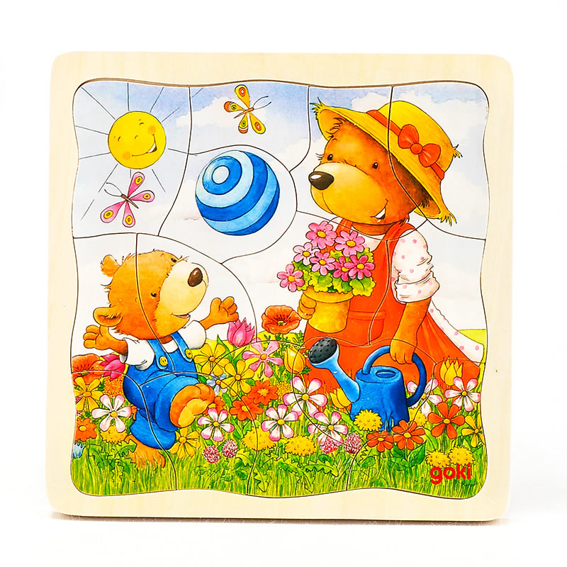goki Puzzle little bear wood in 4 layers 46pcs cartoon educational puzzle wooden kids toys developmental wood toy montessori jigsaw puzzle speelgoed games for children 60d0037