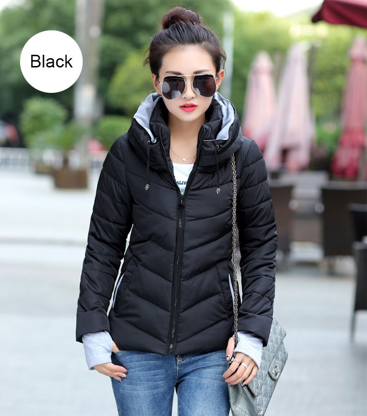 ZOGAA Черный цвет Номер М winter long thick hoodied cotton coat fashion pattern parka jacket women cotton padded clothing girl fashion slim body pockets