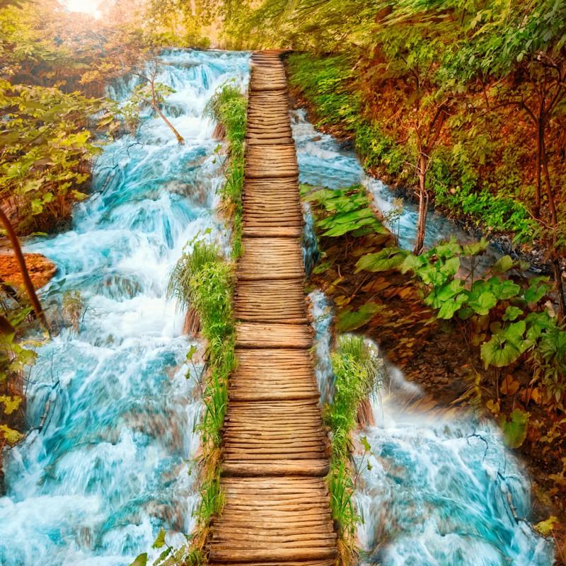 Colomac Смешанный цвет Бесплатная доставка Mountain Stream Деревянный мост Ванная Коридор Коридор 3D-этаж
