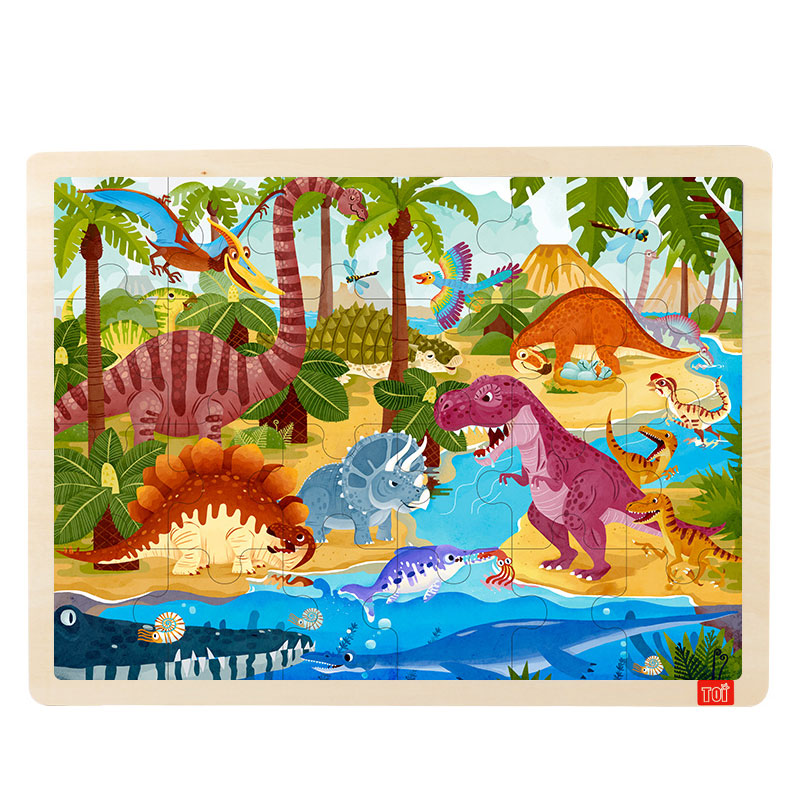TOI Dinosaur 24PCS 1 piece baby wooden toys magnetic fishing game jigsaw puzzle board 3d jigsaw puzzle children education toy for children