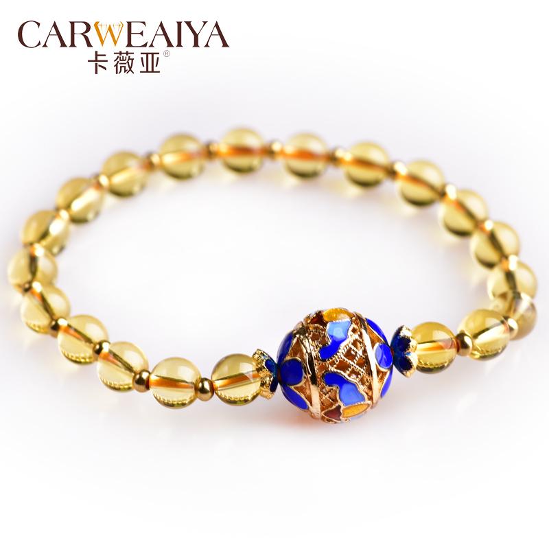 CARWEAIYA Цитрин бисер эмаль браслет 6мм аксессуары bino браслет желтая бабочка 9989045