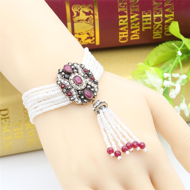 SUNSPICE MS Red u7 boho бисера браслеты для женщин ювелирные изделия 2016 черный камень необычные австрийский хрусталь женщины регулируемая браслет узла