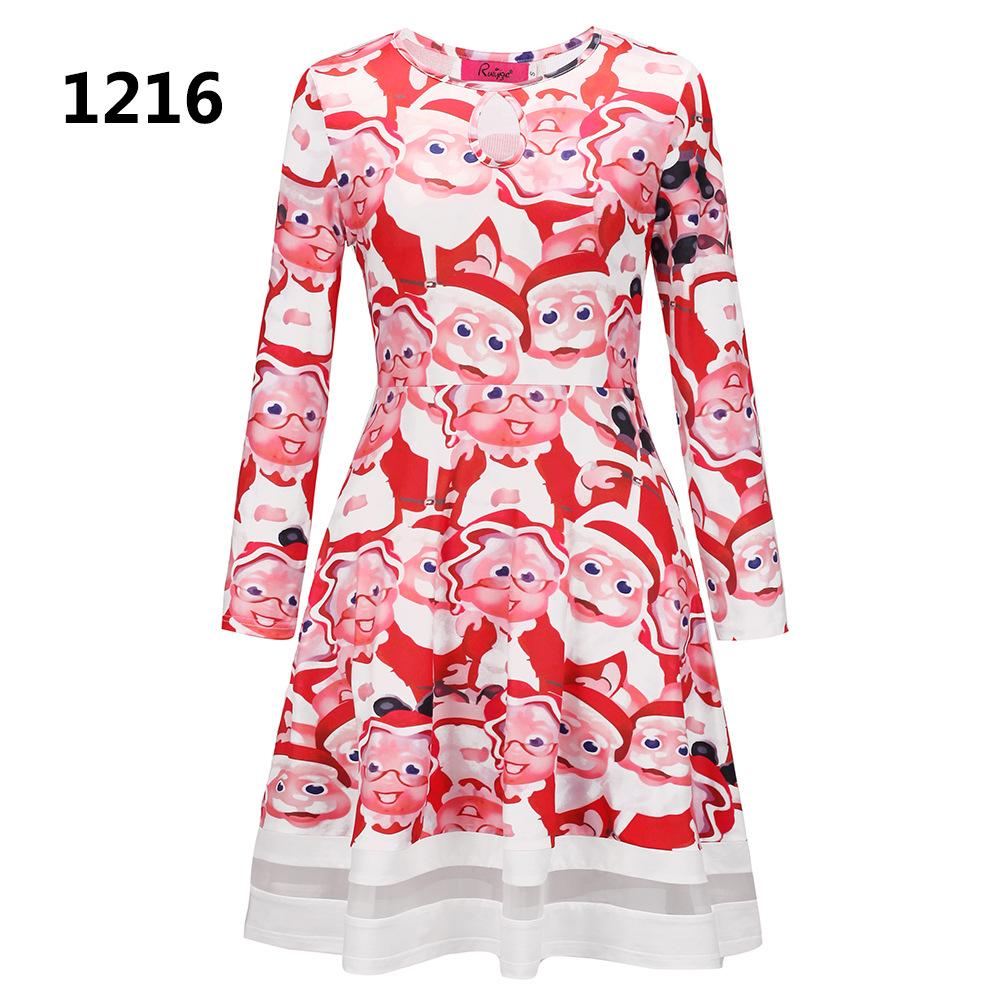 ZOGAA 1216 Номер S women s christmas snowman elk prints long sleeved dresses