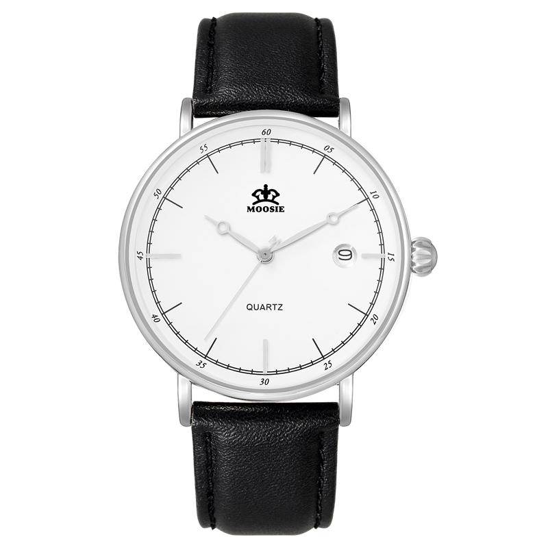 MOOSIE Белый циферблат Чёрный ремешок для часов Часы для мужчины кварцевые часы reichenbach часы элитные