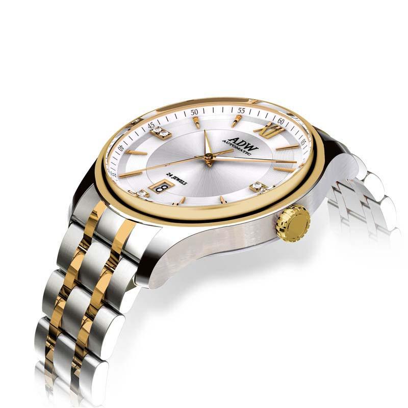 ADW Белый циферблат с золотым стальным поясом Мужские часы Современное