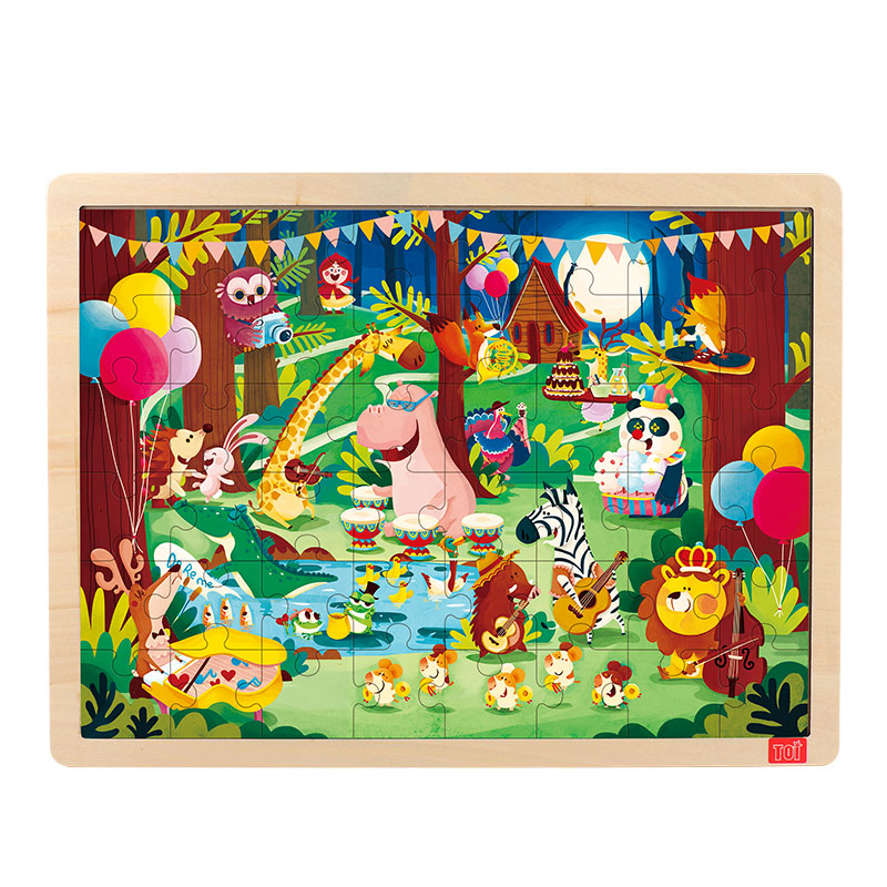 TOI Forest concert48PCS 1 piece baby wooden toys magnetic fishing game jigsaw puzzle board 3d jigsaw puzzle children education toy for children