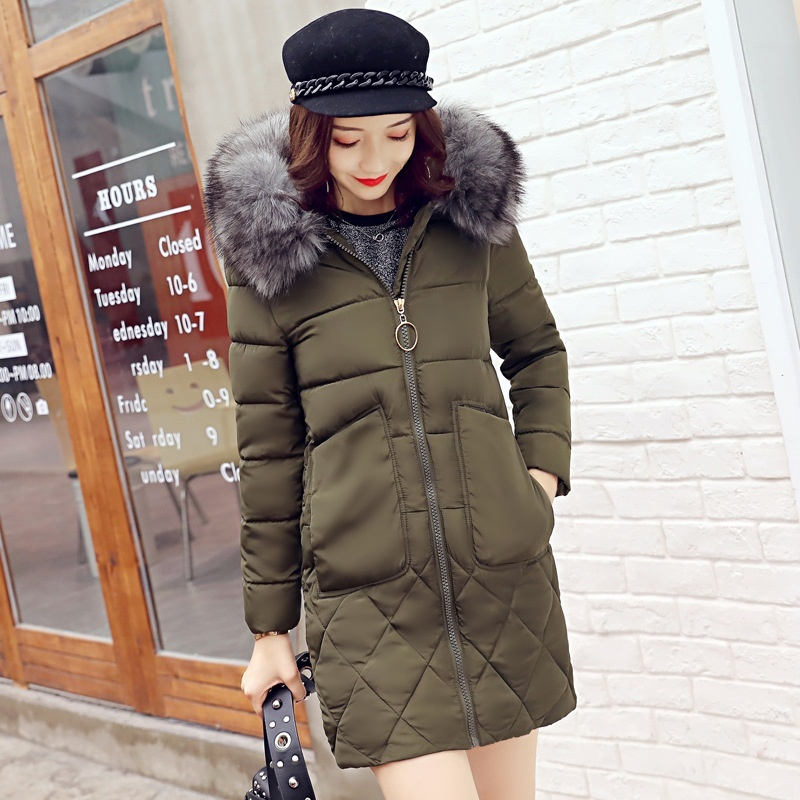 ZOGAA Зеленый цвет Номер S qimage new winter autumn winter warm parkas women fashion silm long jacket coat fur collar lady cotton padded coat warm outwear