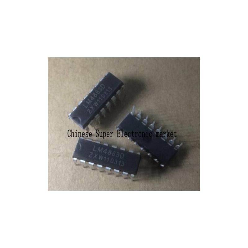IC 10pcs free shipping lm4863d lm4863 dip 16 dual channel o power amplifier new original