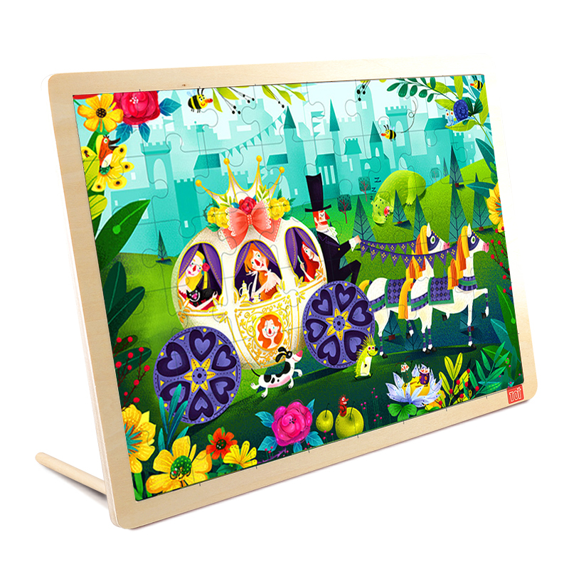 TOI In the Forest48PCS 1 piece baby wooden toys magnetic fishing game jigsaw puzzle board 3d jigsaw puzzle children education toy for children