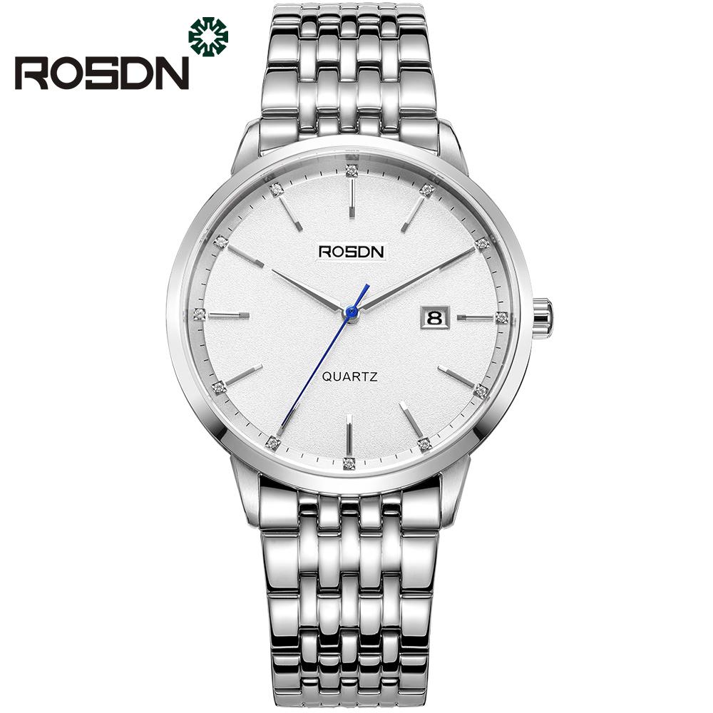 ROSDN Белый циферблат Стальной пояс Мужские часы женские наручные