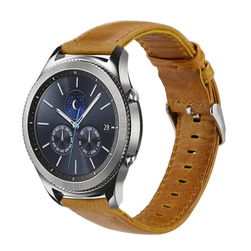 PINSENDA Оранжевый цвет 22mm genuine leather smart watch band strap bracelet for samsung gear 2 r380 r381 r382 moto 360 2 2nd 46mm pebble time steel