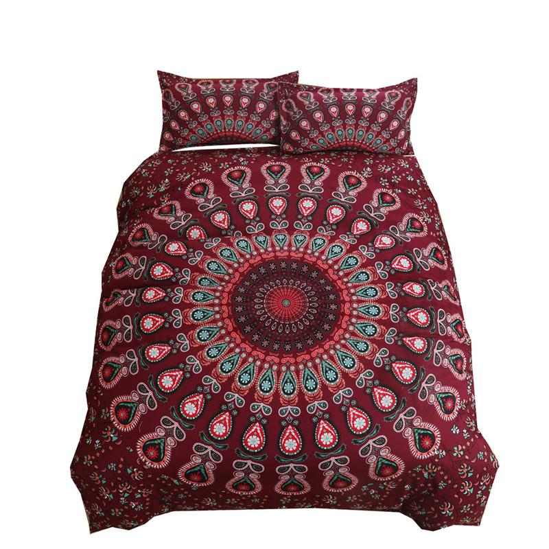 Донна покрывает постельное белье Boho Duvet 3D постельное белье Постельное белье комплект одеяло покрытие Full iDouillet Красный цвет Королева фото