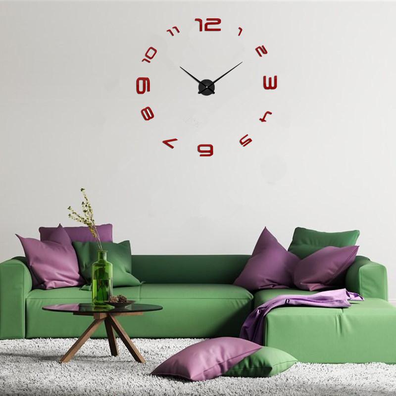 suwumu Красный цвет настенные часы oem diy 3d relogio cozinha