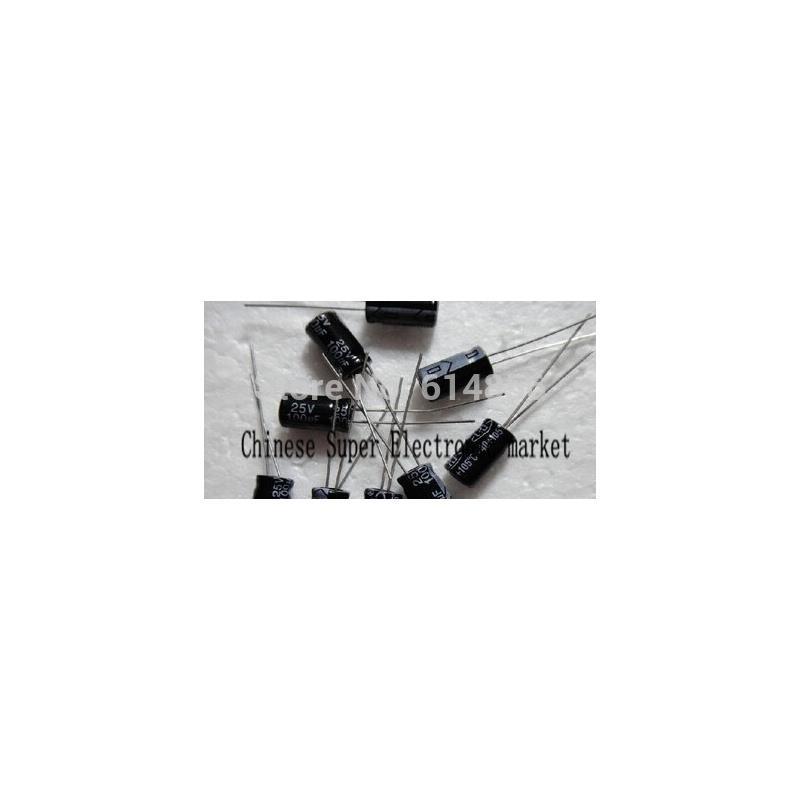 IC diy 25v 100uf aluminum electrolytic capacitor black 10pcs