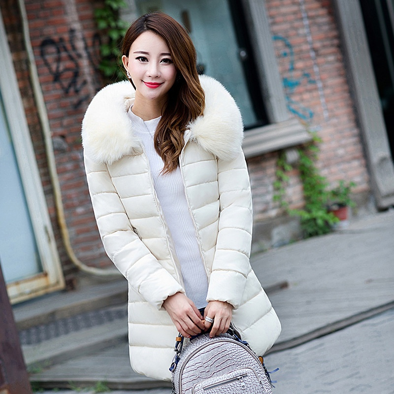 ZOGAA бежевый Номер L hirsionsan large raccoon fur collar parka winter jacket women 2017 new korean fashion corduroy outwear thick warm hooded coat