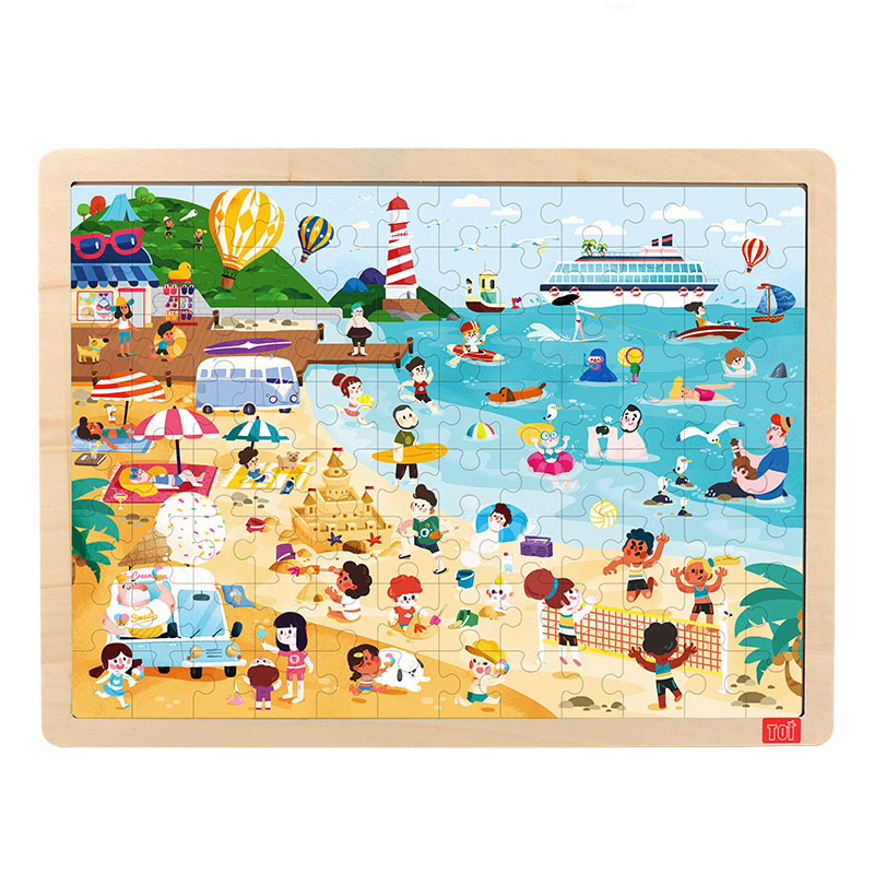 TOI Beach100PCS 1 piece baby wooden toys magnetic fishing game jigsaw puzzle board 3d jigsaw puzzle children education toy for children