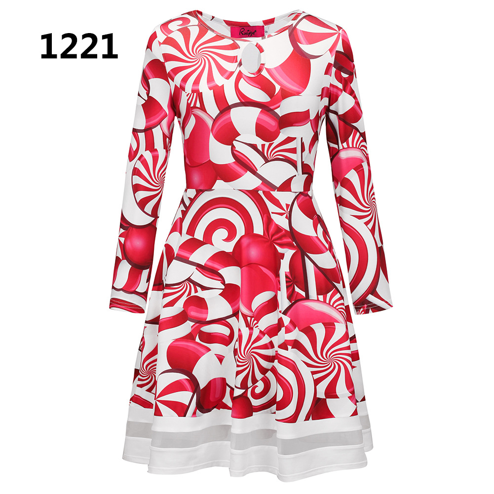 ZOGAA 1221 Номер S women s christmas snowman elk prints long sleeved dresses