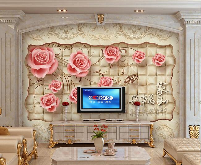 Colomac Blue пользовательские обои для фото европейский стиль романтический цветок 3d росписи брак комната спальня гостиная нетканые печатные обои 3d