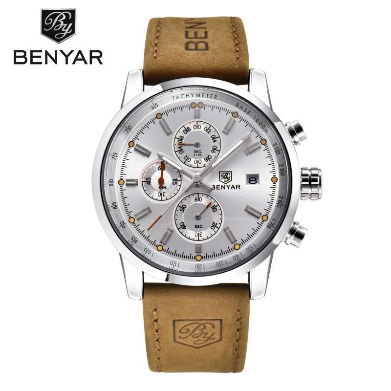 benyar серебристый белый 2017 мужские часы известные лучшие роскошные бренды кварцевые часы мужские наручные часы мужской наручные часы