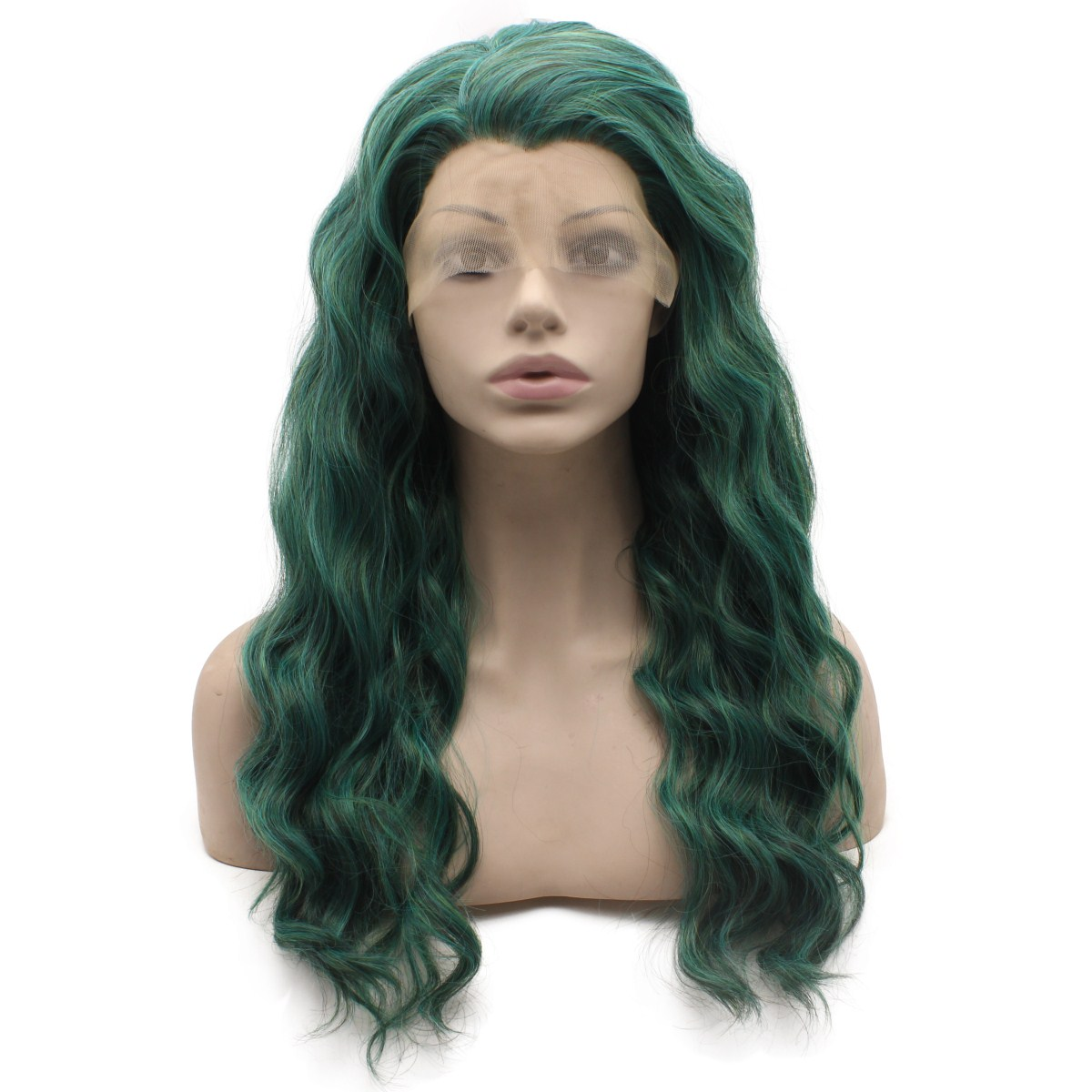 blue wavy lace front wig front