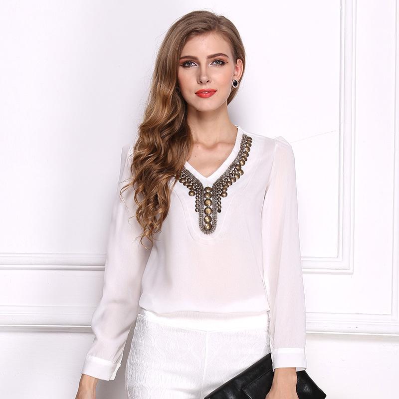 Mink Keer белый XL йемен весна и осень рубашка женская рубашка шифон круглый воротник рубашки 8510110638 белый xl