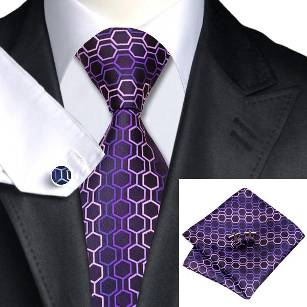 CAOFENVOO н 0653 моде мужчины шелковый галстук набор фиолетовый в полоску галстук платок запонки набор галстуков для мужчин формальных свадебный бизнес оптом