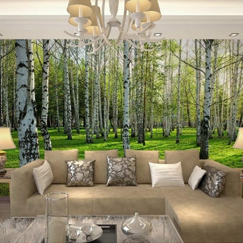 Colomac Смешанный цвет пользовательский современный природный ландшафт березовый лес фото обои ресторан гостиная диван заставка фреска обои для стен 3d