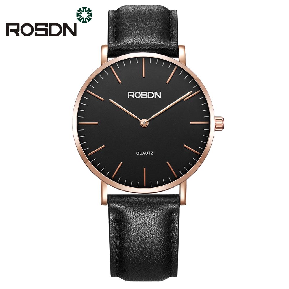 ROSDN Мужские наручные часы черного пояса 2017 мужские часы известные лучшие роскошные бренды кварцевые часы мужские наручные часы мужской наручные часы