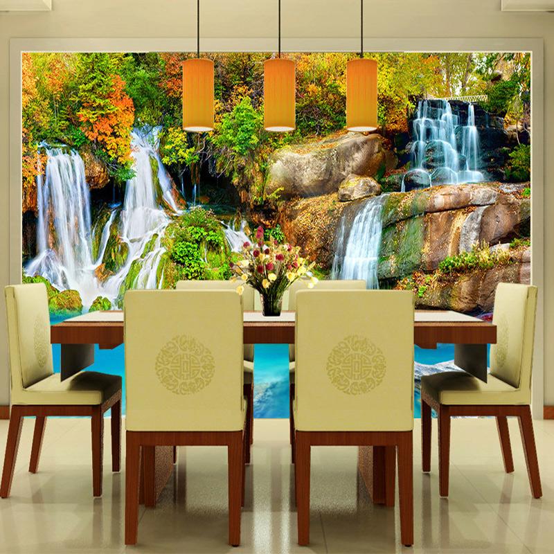 Colomac Смешанный цвет пользовательские 3d обои для фото деревянный мост водопад ландшафт декоративные обои для спальни для спальни 3d living room decor painting