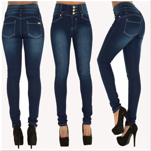 HUAHEJING Синий цвет Номер XXL new big yards lmitation jeans pants women 2017 autumn elastic waist trousers ladies vintage pencil slim skinny jeans female w863