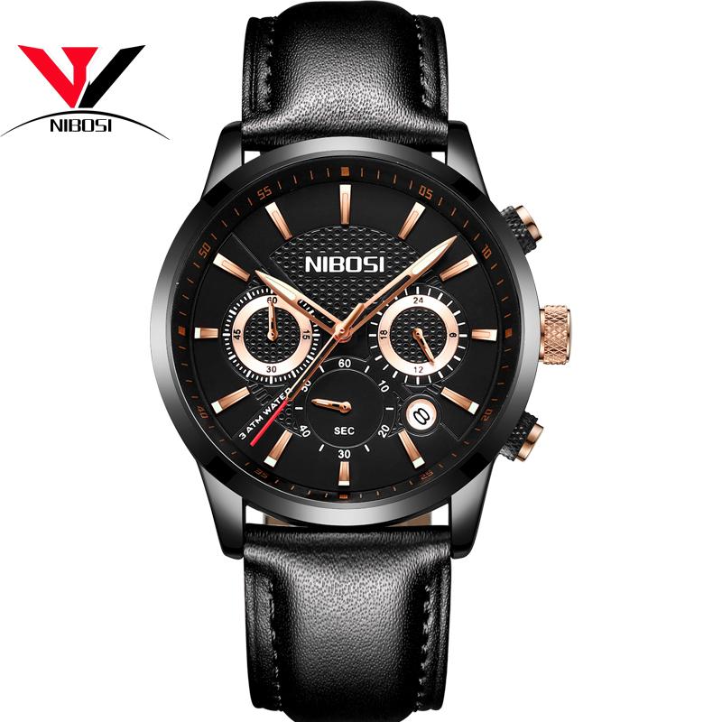 NIBOSI Мужские наручные часы черного пояса doxa мужские швейцарские наручные часы doxa 155 10 151 010