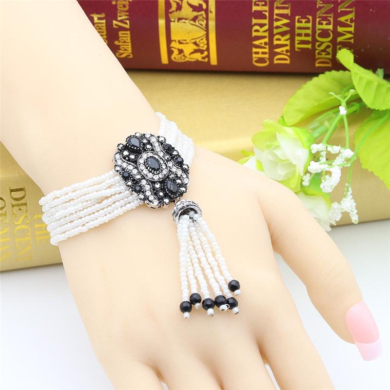 SUNSPICE MS Black u7 boho бисера браслеты для женщин ювелирные изделия 2016 черный камень необычные австрийский хрусталь женщины регулируемая браслет узла