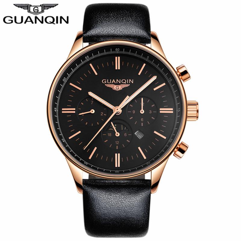 GUANQIN черный золото черный мужские часы michel herbelin 12466 14 sm