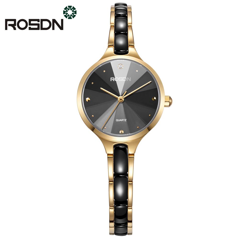 ROSDN Золотой черный циферблат часы наручные женские mikhail moskvin каприз цвет черный 600 11 4