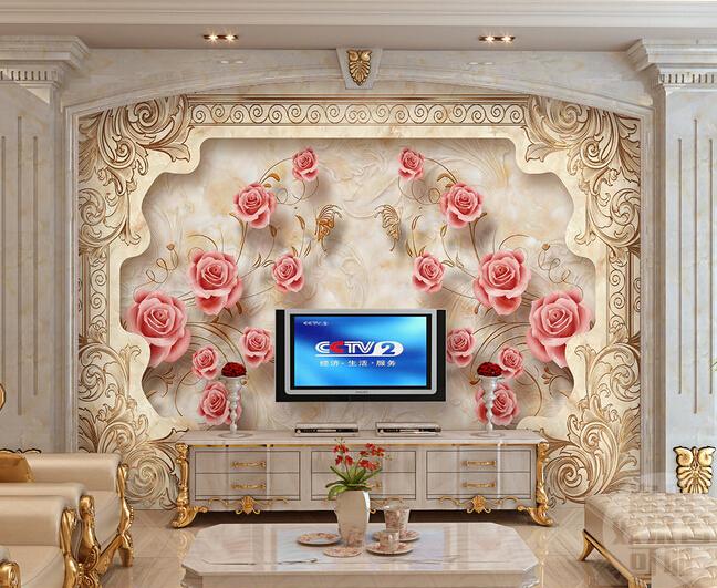 Colomac Yellow пользовательские обои для фото европейский стиль романтический цветок 3d росписи брак комната спальня гостиная нетканые печатные обои 3d